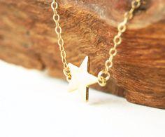 Hokuli'ili'i necklace - gold star necklace, delicate gold pendant necklace, shooting star necklace, gold filled layering necklace, hawaii