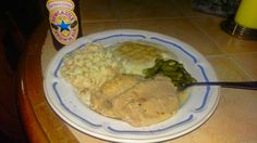 Mashed potatoes & gravy green beans baked pork chops and bacon ranch pasta [1600x900]