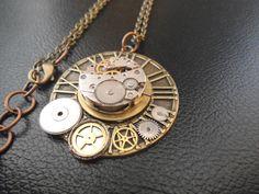 Steampunk clockwork necklace: unique steam punk piece.
