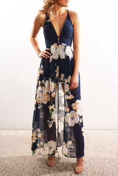 Chasing Yesterday Maxi Playsuit Navy