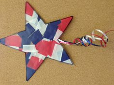 4th of July craft thick tissue paper and laminating sticky roll to make a star firework