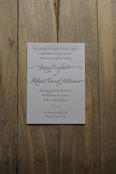 calligraphy shades of grey wedding invitation, letterpress wedding invitation, silver and grey