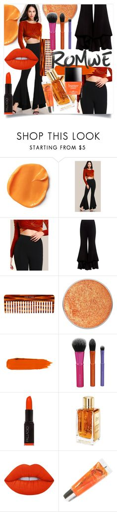 """Romwe Super Flare Pants"" by freeunderwater ❤ liked on Polyvore featuring Alexis, Mason Pearson, Suva Beauty, Palladio, Lancôme, Lime Crime, Maybelline, Butter London and romwe"