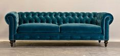 sofa chester terciopelo azul
