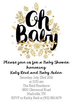 Gender Neutral Gold Baby Shower Invitation This invitation should be printed as a 5x7. This listing is for a digital file ONLY. This is a