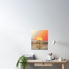 """Aesthetic Sunrise Mountain Landscape"" Poster by ind3finite 