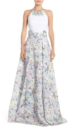 Badgley Mischka Embellished Floral Print Ballgown