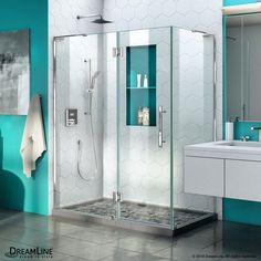 DreamLine Quatra Plus H x to W Frameless Hinged Chrome Shower Door (Clear Glass) at Lowe's. The Quatra Plus is a frameless hinged shower enclosure with an exquisite modern design and sleek lines for an instant upgrade to any bathroom space. Frameless Shower Enclosures, Frameless Shower Doors, Shower Base, Toilet Shower Combo, Thing 1, Construction, Types Of Doors, Cabinet, Stores