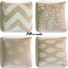 Set of 2 Beige Decorative Throw Pillow Cover 18x18 Inch Cream Chevron Accent Tan