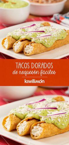 Real Mexican Food, Mexican Food Recipes, Vegetarian Recipes, Cooking Recipes, Healthy Recipes, Queso Cotija, I Love Food, Good Food, Tacos Dorados