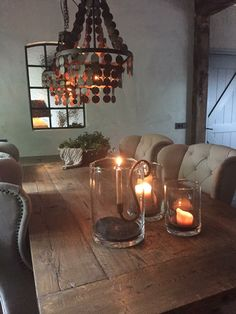 Boeren stalraam Country Dining Rooms, Wooden Diy, Dining Area, Beautiful Homes, Interior Decorating, Sweet Home, New Homes, Home And Garden, House Design