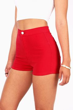 "Super high waist denim shorts with soft stretchy denim and smooth seamless fit. Traditional zip fly and button closure. Pockets on the back. *Machine Wash Cold *98% Cotton 2% Spandex *11""/ 28cm Top to"