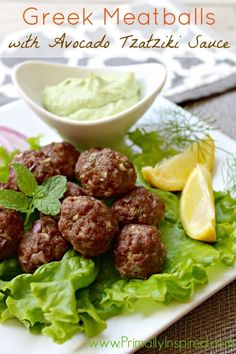 You'll love these easy weeknight Greek Meatballs with a healthy Avocado Tzatziki Sauce! They're so good that you'll want to make a double batch! *Made the Avocado Tzatziki Sauce and it was incredible! Paleo Whole 30, Whole 30 Recipes, Greek Recipes, Whole Food Recipes, Healthy Recipes, Amish Recipes, Dutch Recipes, Lamb Recipes, Cooking Recipes