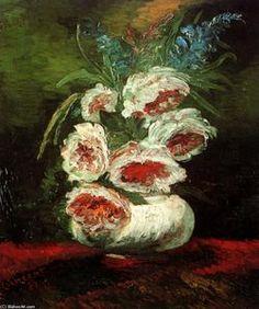 Vase with Peonies - (Vincent Van Gogh)
