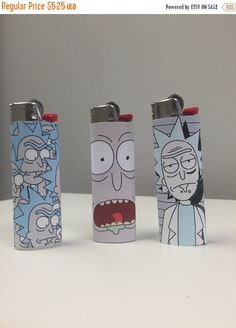 Rick Sanchez rick and morty Custom Lighter SET 3 Lighters Custom Lighters, Cool Lighters, Rick And Morty Merch, Stoner Room, Ricky And Morty, Glass Pipes And Bongs, Lighter Case, Puff And Pass, Weed