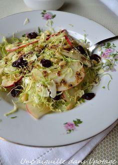 une aiguille dans l' potage: Salade aux choux de Bruxelles râpés et pommes