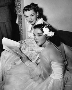 Judy Garland and Kathryn Grayson backstage at the Hollywood Bowl for the Jerome Kern Memorial Night, 1946