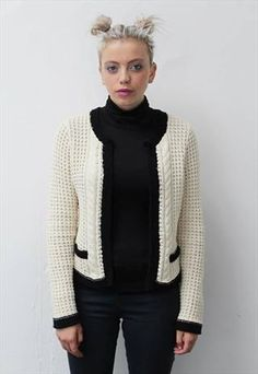 Chanel style cardigan for sale by prettydisturbia on asosmarketplace! Chanel Style, Chanel Fashion, Knitwear, Asos, Buy And Sell, Vintage Fashion, Turtle Neck, Sweaters, Stuff To Buy