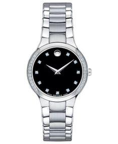 Movado Women's Swiss Serio Diamond (1/5 ct. t.w.) Stainless Steel Bracelet Watch 28mm 0606491