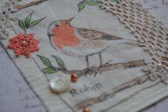 Textile Art  Fabric Bird ♥ made from an old Tea Towel & Tablecloth