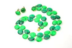 Emerald Green Lucite Faceted West Germany by ClassiqueStyle, $22.00