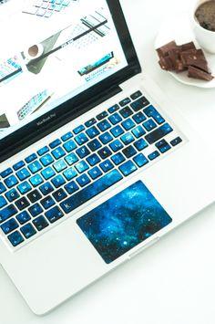 macbook decal, keyboard decal, galaxy decals, macbook pro stickers, keyboard stickers, galaxy, DIY, blue laptop