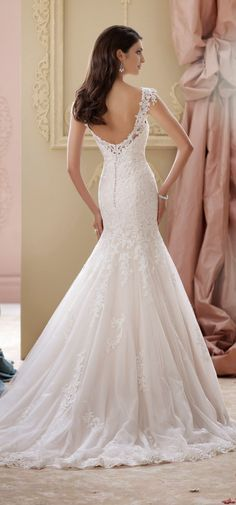 Love the shoulder detail and delicate back -- David Tutera for Mon Cheri Spring 2015 Bridal Collection