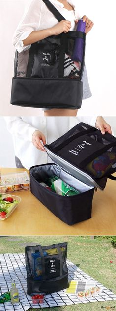 US$13.99 + Free shipping. Lunch Bag, Picnic Bag, Mesh Bag, Beach Bag, Tote Bag, Food Drink Storage. Material : Waterproof Nylon. Color : Black, Blue, Rose Red, Green. Best Picnic Outfit You could Imagine.