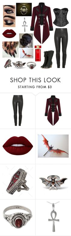 """""""Dracula's Bride"""" by banasheeanni ❤ liked on Polyvore featuring By Malene Birger, Lime Crime, NOVICA, Tressa and Estée Lauder"""