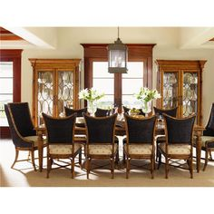 Island Estate 11 Piece Grenadine Rectangular Table with Cruz Bay Host and Mangrove Chairs Set by Tommy Bahama Home - Baer's Furniture - Dining 7 (or more) Piece Set Miami, Ft. Lauderdale, Orlando, Sarasota, Naples, Ft. Myers, Florida