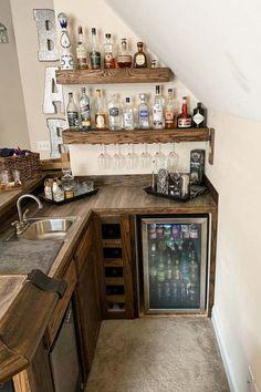 Home Bar Rooms, Diy Home Bar, Home Bar Decor, Bars For Home, Basement Bar Designs, Home Bar Designs, Bar Sala, Garden Bar Shed, Room Above Garage