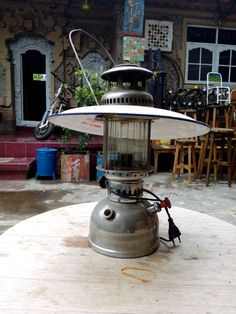 Original vintage lantern lamp.  This unique object was found in a old indonesian colonial house and we give it a reborn.  It would be great