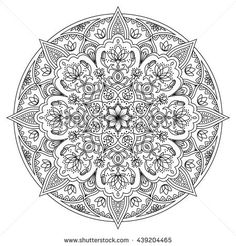 Mandala pattern. Round black and white oriental pattern. Arabic, Indian, American ethnic ornament such as adult coloring book, tattoo, batik, t-shirt print. Vector illustration - buy this stock vector on Shutterstock & find other images.