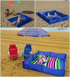 This is such a great idea! This one of a kind, 5 in 1 beach screen/Playpen helps prevent kicked and blowing sand while laying flat on your blanket. Beach Camping, Beach Fun, Baby Beach, Beach Ideas, Baby Am Strand, Toddler Beach, Baby Life Hacks, Beach Hacks, Baby Playpen