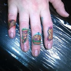 Food Tattoos Food Tattoos, Tattoo Hand, Ink, My Favorite Things, Tatuajes, Finger Food, India Ink, Tattoo Side