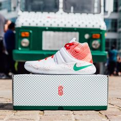 """The sneaker giant recently unveiled its Nike Kyrie 2 """"Ky-rispy Kreme"""" edition – a version of the latest shoe endorsed by Cleveland Cavaliers point guard Kyrie Irving decked out in the doughnut chain's signature red, green and white color scheme."""