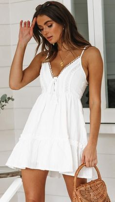 72d9e4325b0 Summer white dresses with beautiful crochet lace detailing  Muraboutique  Cute White Dress