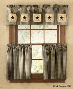 Country primitive decorating at it's best, the Star Patch Lined Curtain Valance measures 60 x 14 (shown top)from Park Designs. Primitive Curtains, Rustic Curtains, Country Curtains, Lined Curtains, Diy Curtains, Curtain Valances, Cottage Curtains, Velvet Curtains, Gingham Curtains