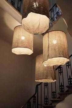 Hanging DIY paper lamp shade crafts on wall - home decor, handmade lamp shade