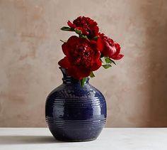 Pamela Blue Ceramic Vase #potterybarn