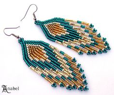 Emerald and Gold  Native American Style Seed Bead by Anabel27shop,