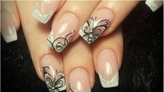 French manicure with butterflies