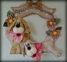 Moldes Para Artesanato em Tecido: Guirlanda de Cachorro com moldes