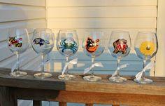 Hand painted Baltimore wine glasses.