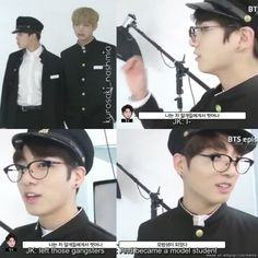 BAAAAEEEE JUNGKOOK WITH GLASSES AND ACTING LIKE A MODEL STUDENT IS TOO MUCH MY HEARTEU