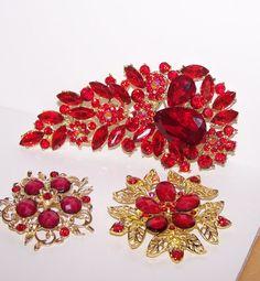 Red 3 pc Rhinestone Brooch  Crystal Brooch by LisasLittleCreations, $11.99