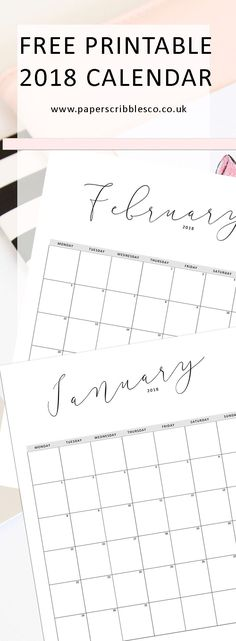 Free 2018 Calendar | Free Planner Printables | Planner Printables | Free Printables | 2018 Calendar | Family Organization | Home Organizing | Planner Organization | 2018 Planner