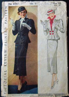 Pictorial Review 8297 | 1930s Two-Piece Suit/Blouse Pattern Vintage Dresses, Vintage Outfits, Vintage Fashion, 1930s Fashion, Vintage Clothing, Vintage Vogue Patterns, Dress Making Patterns, Fashion History, Pattern Fashion
