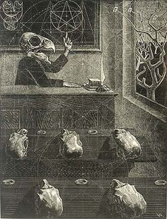 """Scherzo in Gold, Victor Delhez Wood engraving, 1948 via William P. Carl Fine Prints This brilliant parody on the concept of the """"Golden Number"""" depicts a professor with the skull of a parrot and five students. The print is constructed around several pentagrams."""