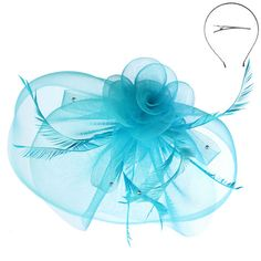 Large Mesh Flower and Feather Fascinator
